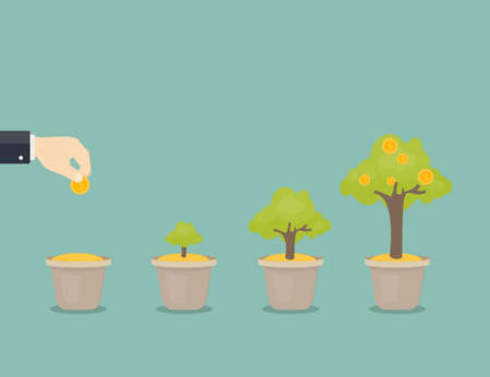 Growing money tree. Stages of growing. Coin seed Illustration