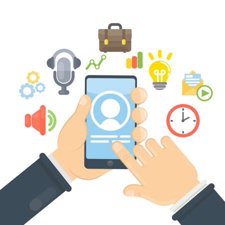 Smartphone apps and chat. Solving business problems, chatting and paying with smartphone. Illustration