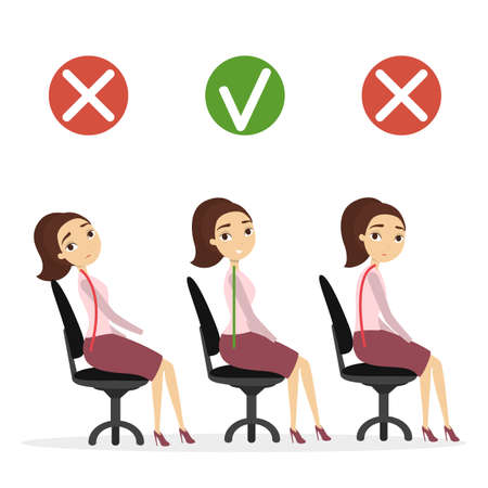 좋은 자세 설정. 나쁜 및 좋은 척추 사무실에 앉아있는 여자. 일러스트