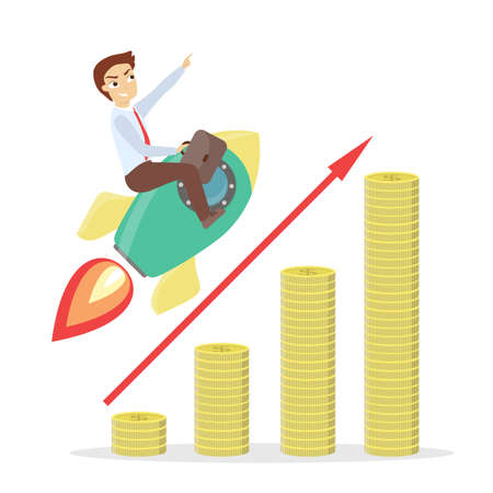 Businessman on rocket flying on chart growing up.