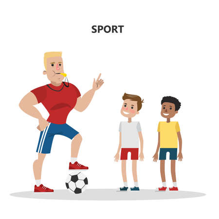 Sport teacher with kids. Football team with ball.