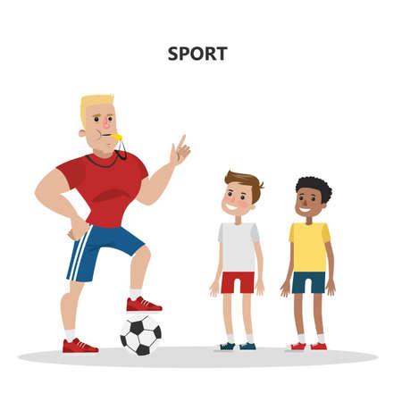 Insegnante di sport con bambini. Squadra di calcio con palla.