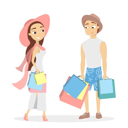 Isolated shopping couple with bags on white background.
