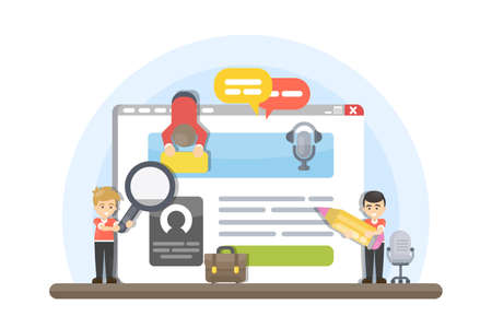 Web site building. People creating interface and functions. Illustration