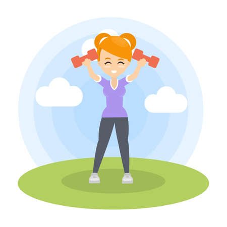 Woman doing fitness with dumbbells in the park.