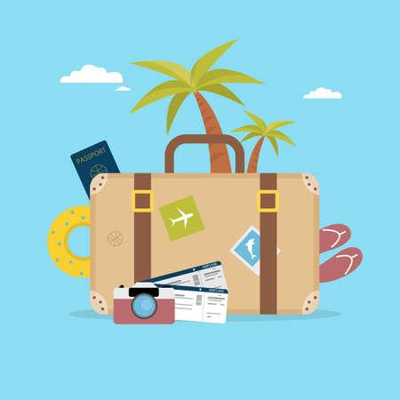 Concetto di vacanza estiva Borsa da viaggio con palmo, fotocamera e passaporto.