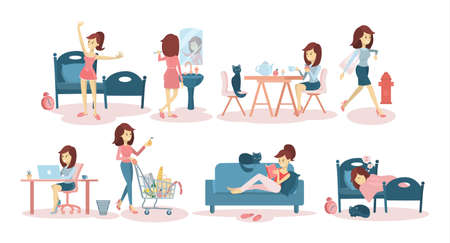De dagelijkse routine van de vrouw thuis en op het werk. Vector Illustratie