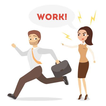 Vrouwelijke werkgever die bij werknemer schreeuwt om te gaan werken Stock Illustratie