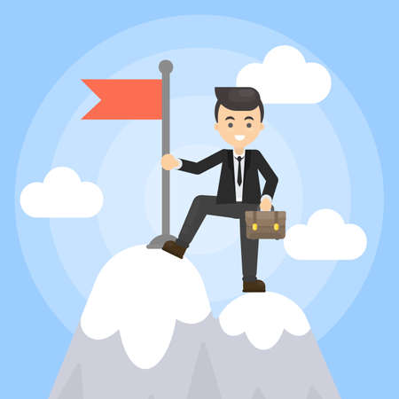 Businessman with flag standing on a mountain pick. Illustration