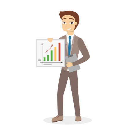 Man at business presentation standing with chart and graph.