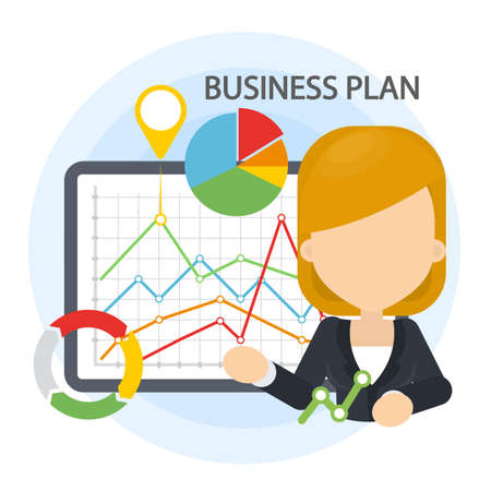 Business plan illustration. Woman with data board and infographics.