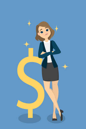 Isolated businesswoman leaning on giant golden dollar sign. Illustration