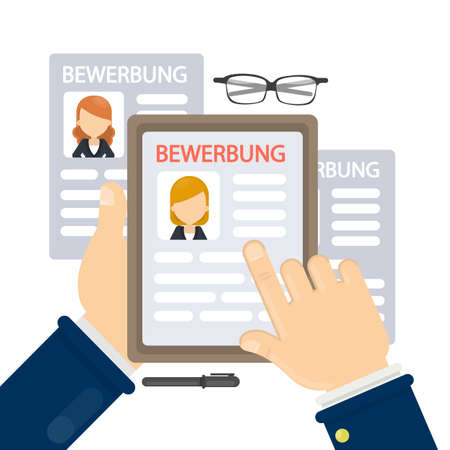 Bewerbung concept illustration. Resumes on table for hiring new people. Illustration