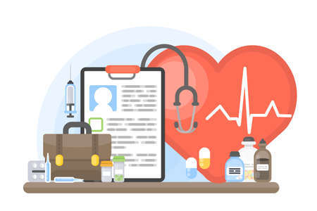 Cardiology concept illustration. Heart health with pills and medication.