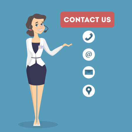 Contact us illustration. Woman from support service center.