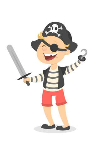 Isolated pirate boy in costume with hat and sword. Illustration