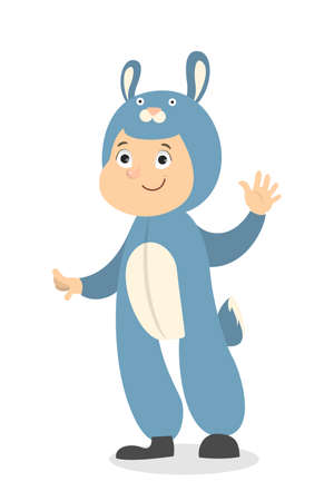 Isolated bunny boy in blue costume on white. Stock Illustratie