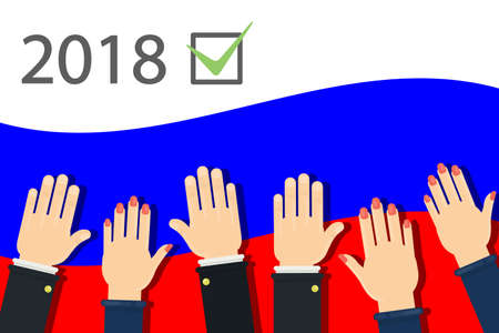 2018 election campaign in Russia. Peoples hands on flag.