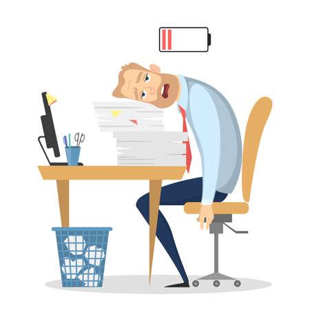 Müder Geschäftsmann im Büro mit Batterie der niedrigen Energie. Vektorgrafik