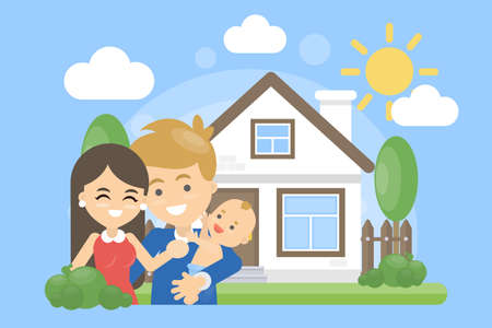 Family with house. Happy parents with children outdoors. Illustration