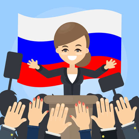 Woman politician on debates with russian flags. Stock Illustratie