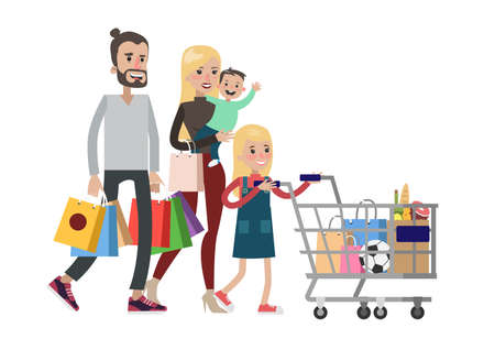 Isolated family shopping at grocery store on white.