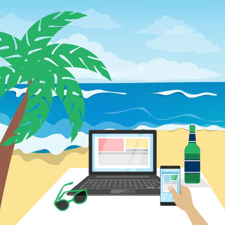 Freelance businessman working and relaxing on the beach.