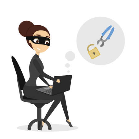 Isolated female hacker trying to break the lock.