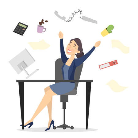 Isolated happy businesswoman jumping on the desk at office.