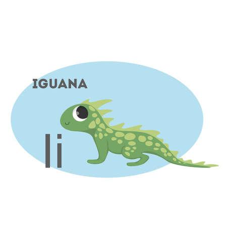 Iguana on alphabet. Letter I with funny animal. Illustration