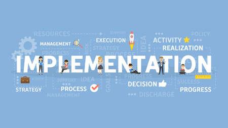 Implementation concept illustration. Idea of innovation and development.  イラスト・ベクター素材