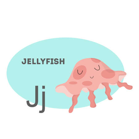 Jellyfish on alphabet. Letter J with funny animal.