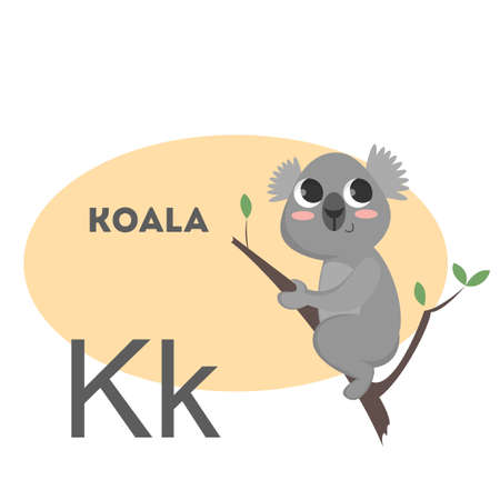 Koala on alphabet. Letter K with funny animal. Çizim
