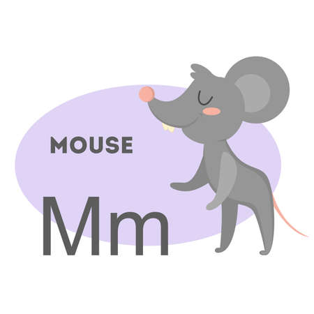 Mouse on alphabet. Letter M with funny animal. Vectores