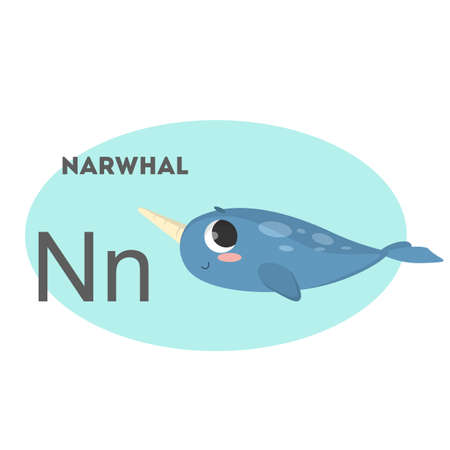 Narwhal on alphabet. Letter N with funny animal. Illustration
