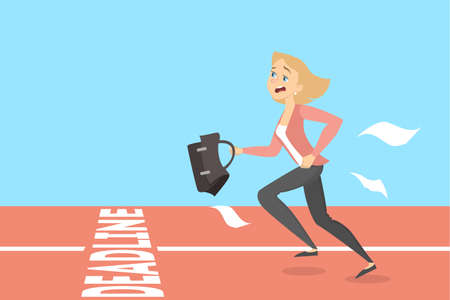 Businesswoman running to deadline with briefcase on race. Illustration