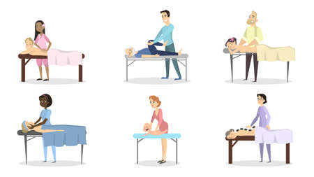 Massage therapy set. Doctors with patients as women, men and babies. Stock Illustratie