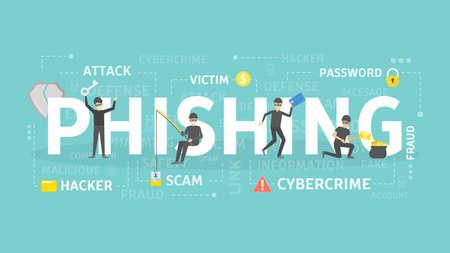 Ilustracja koncepcja phishingu. Idea cyberprzestępczości i oszustw.