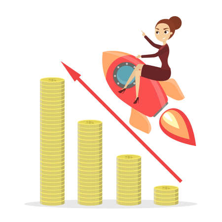 Businesswoman on rocket flying on chart growing up. 向量圖像