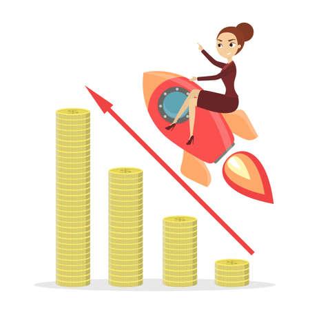 Businesswoman on rocket flying on chart growing up. 版權商用圖片 - 92953774