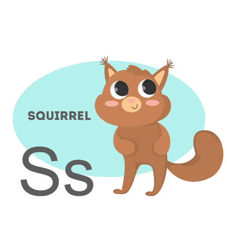 Squirrel on alphabet. Letter S with funny animal.