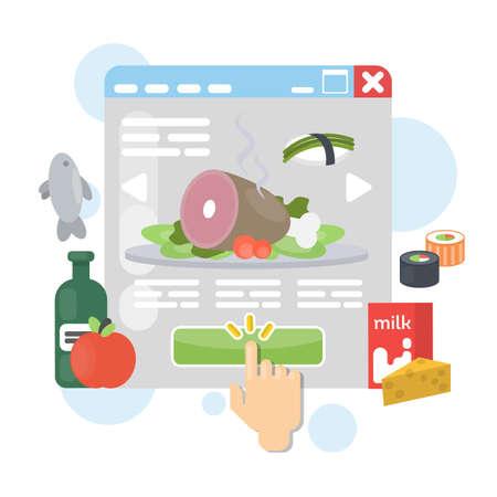Online food order using internet. Buying groceries. Illusztráció