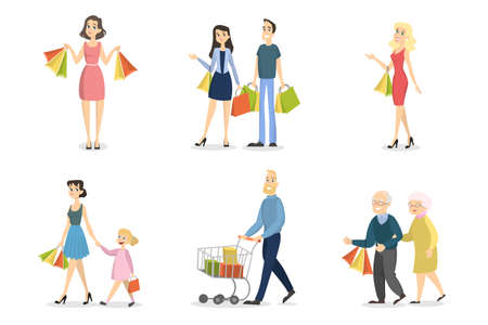 People shopping set. Families and couples with bags.