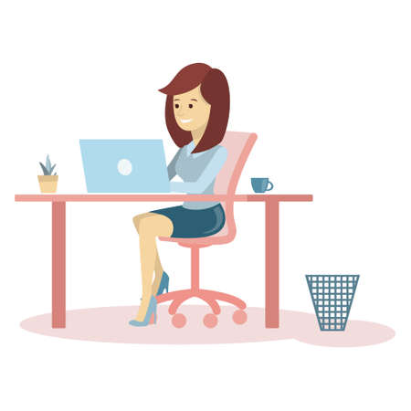 Woman working at office on white background.