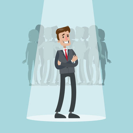 Successful businessman from crowd chosen with spotlight.