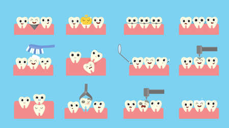 Teeth in mouth set. Broken and ill tooth, happy and healthy tooth.