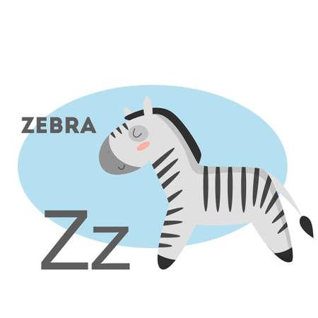 Zebra on alphabet. Letter Z with funny animal.
