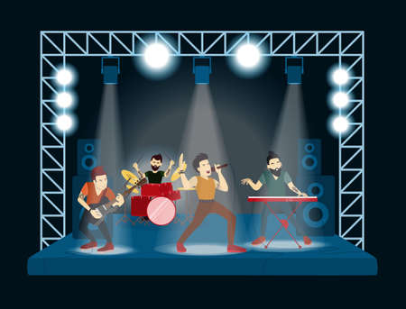 Band at concert. Rock singers and musicians. Illustration