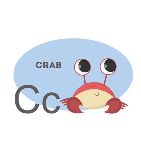 Crab on alphabet. Letter C with funny animal.
