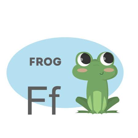 Frog on alphabet. Letter F with funny animal. Vektorové ilustrace